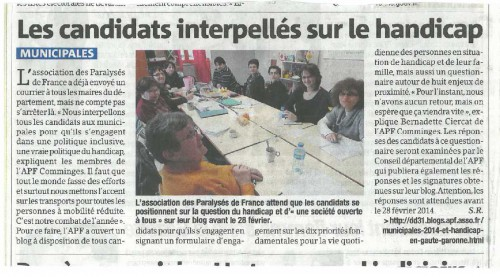 LaDepeche_140307_municpales St Gaudens_candidats interpellés sur handicap.jpg